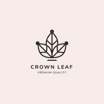 Logotipo de linha mínima de folha de coroa