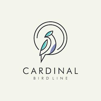Logotipo de linha moderna de pássaro cardinal