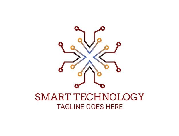 Logotipo de linhas de circuito para tecnologia inteligente