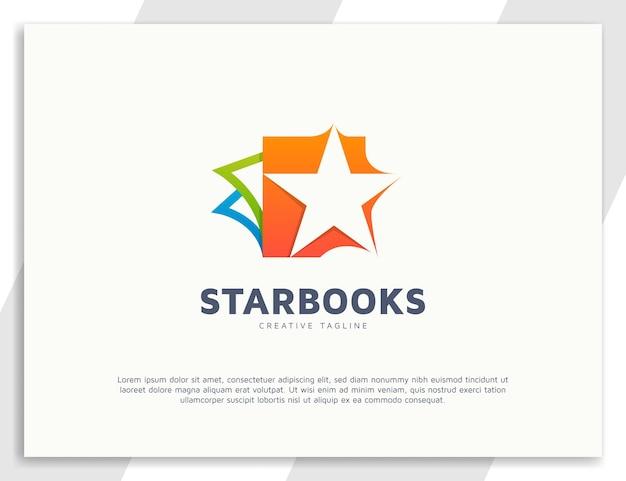 Logotipo de livros em gradiente com design de estrela