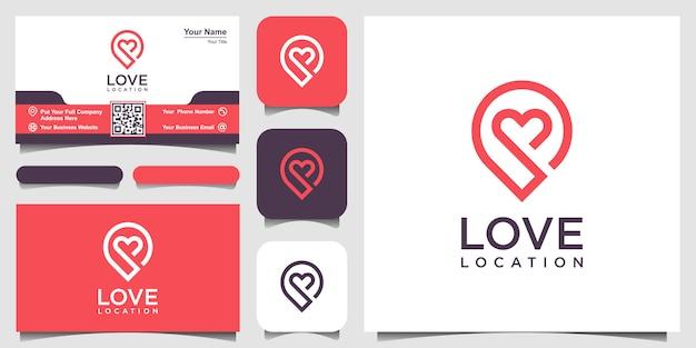 Logotipo de localização criativa amor com marcador de coração e mapa. design de modelo e cartão de visita