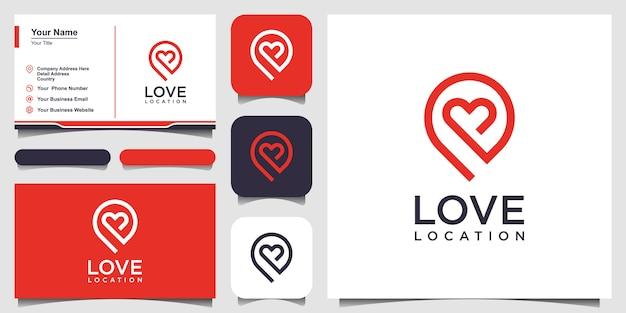 Logotipo de localização criativa amor com marcador de coração e mapa. modelo de design de vetor e design de cartão de visita