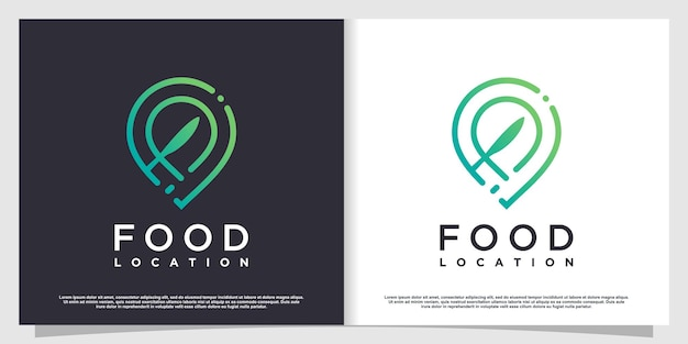Logotipo de localização de alimentos com elementos simples e criativos de estilo premium vector parte 6