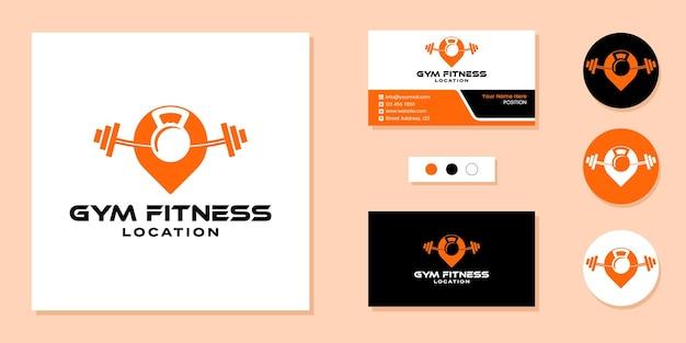 Logotipo de localização de fitness de academia e modelo de design de cartão de visita