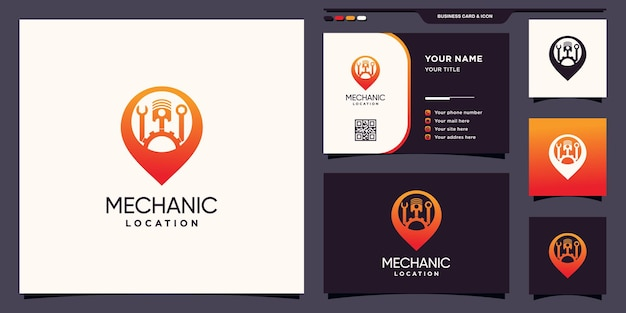 Logotipo de localização de mecânico com conceito de ponto de pino e design de cartão de visita premium vector