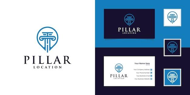 Logotipo de localização do pilar e cartão de visita