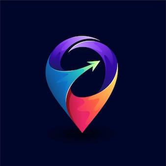 Logotipo de localização do pino com conceito de seta