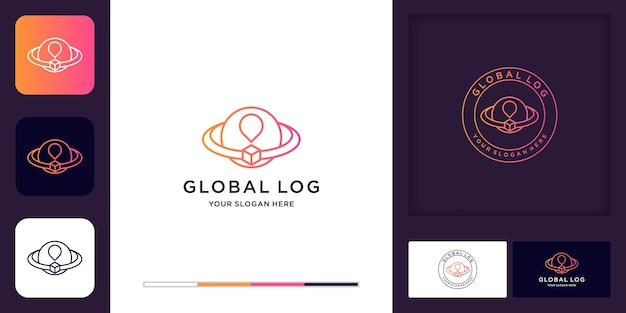 Logotipo de logística, caixa de círculo do mundo e design de cartão de visita