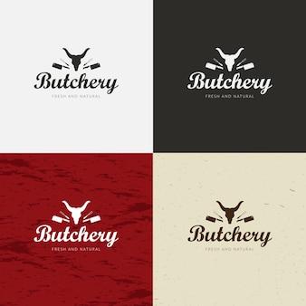 Logotipo de loja de açougueiro, modelo de etiqueta de carne com silhuetas e facas de animais de fazenda.