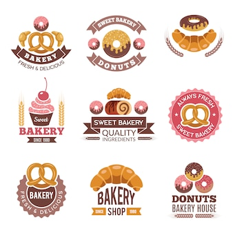 Logotipo de loja de padaria, bolinhos de donuts cookies alimentos frescos e pão para emblemas do mercado de padaria