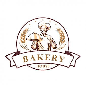 Logotipo de loja de padaria de chef