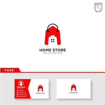 Logotipo de loja em casa vetor e modelo de cartão de visita