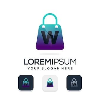 Logotipo de loja moderna com a letra w modelo de logotipo