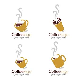 Logotipo de loja quente quente de xícara de café
