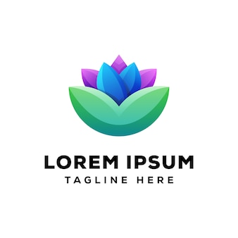 Logotipo de lótus colorido premium