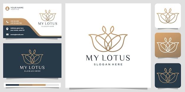 Logotipo de lótus de luxo estilo de linha de arte flor rosa design beleza spa moda linha arte monograma forma ícone de design de logotipo dourado e modelo de cartão de visita premium vector