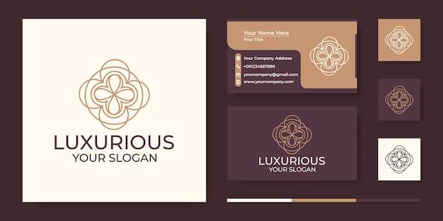Logotipo de luxo abstrato com estilo de arte de linha e cartão de visita