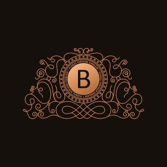 Logotipo de luxo caligráfico ouro