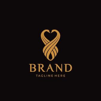 Logotipo de luxo cisne de frente para o outro cabeça