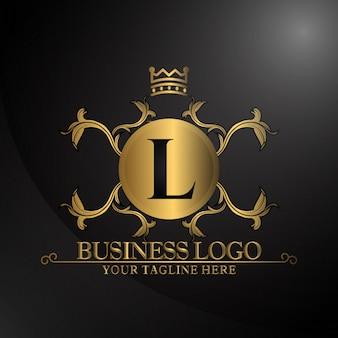 Logotipo de luxo com cor dourada