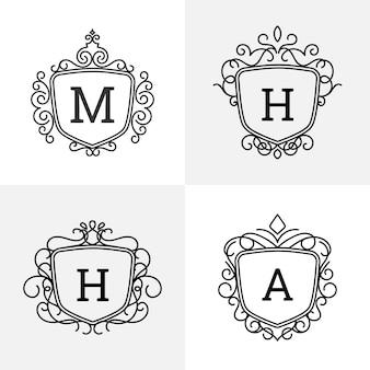 Logotipo de luxo com forma de emblema
