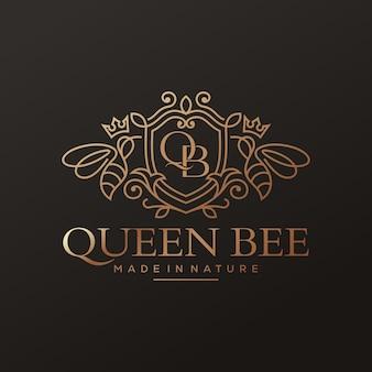 Logotipo de luxo da abelha rainha