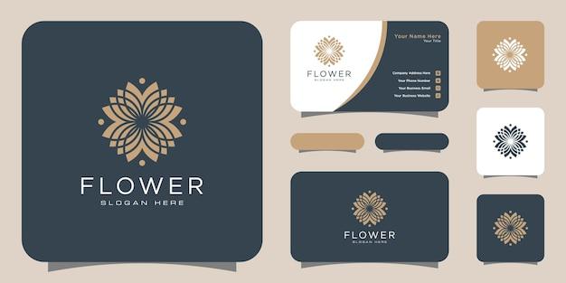 Logotipo de luxo da linha mono de flores com design de cartão de visita