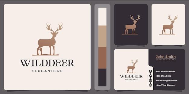 Logotipo de luxo de cervo selvagem com modelo de cartão de visita
