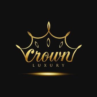 Logotipo de luxo de coroa de ouro