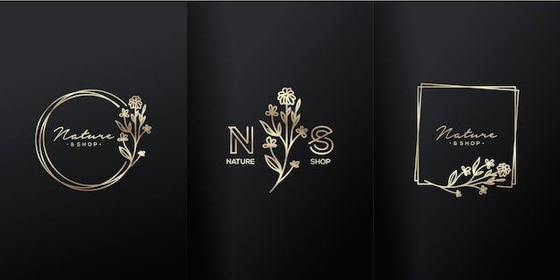 Logotipo de luxo de flor natural boutique