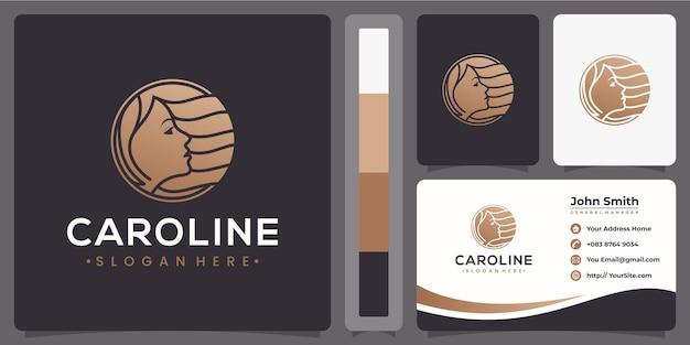 Logotipo de luxo de mulher de cabelo com conceito de cartão de visita