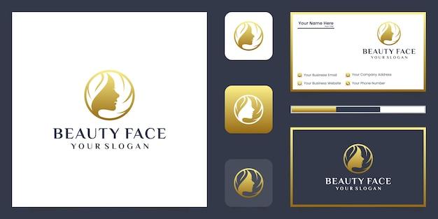 Logotipo de luxo de rosto de mulher bonita e design de cartão de visita.
