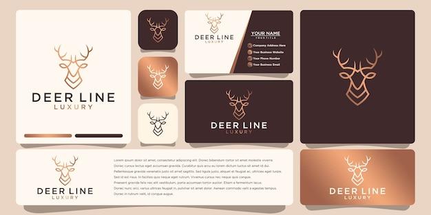 Logotipo de luxo deer, com estilo de arte de linha e cor dourada, inspiração de design de logotipo, com design de cartão de visita