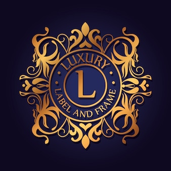 Logotipo de luxo do círculo com design de ornamento