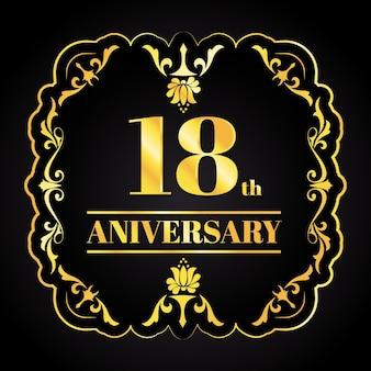 Logotipo de luxo dourado de aniversário