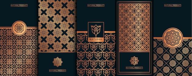 Logotipo de luxo dourado e design de embalagem, flor, natureza, floral, padrão