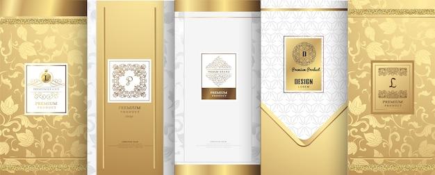 Logotipo de luxo e design de embalagem de ouro