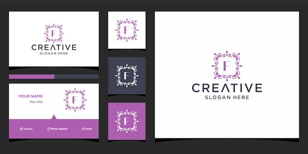 Logotipo de luxo f com modelo de cartão de visita