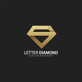 Logotipo de luxo letra s de diamante