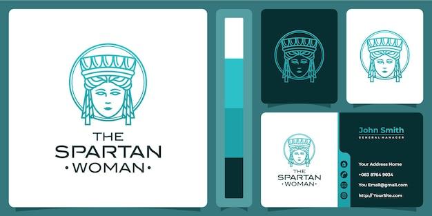 Logotipo de luxo monoline mulher espartana com design de cartão de visita