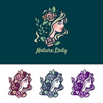Logotipo de luxo natureza senhora