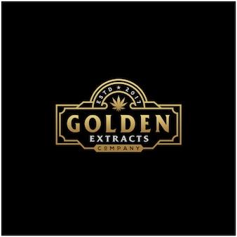 Logotipo de luxo ouro vintage cbd cannabis