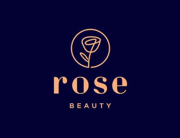 Logotipo de luxo rosa lineart