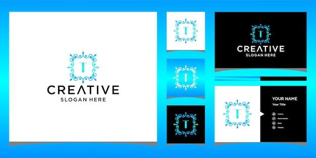 Logotipo de luxo t com modelo de cartão de visita