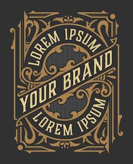 Logotipo de luxo vintage / design de modelo de etiqueta para etiqueta, quadro, etiquetas de produto. design retro do emblema.