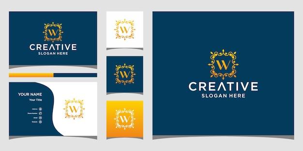 Logotipo de luxo w com modelo de cartão de visita