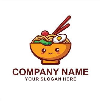 Logotipo de macarrão fofo
