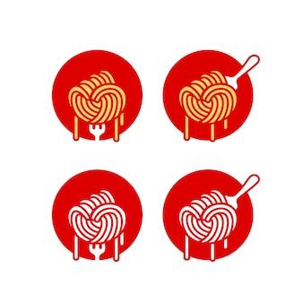 Logotipo de macarrão ramen macarrão espaguete