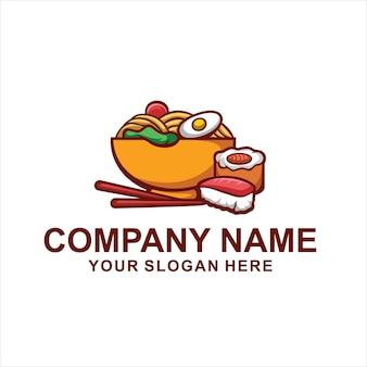 Logotipo de macarrão sushi comida isolado no branco