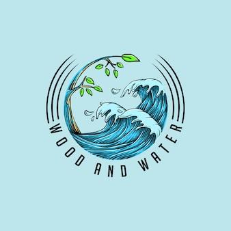 Logotipo de madeira da água combinar